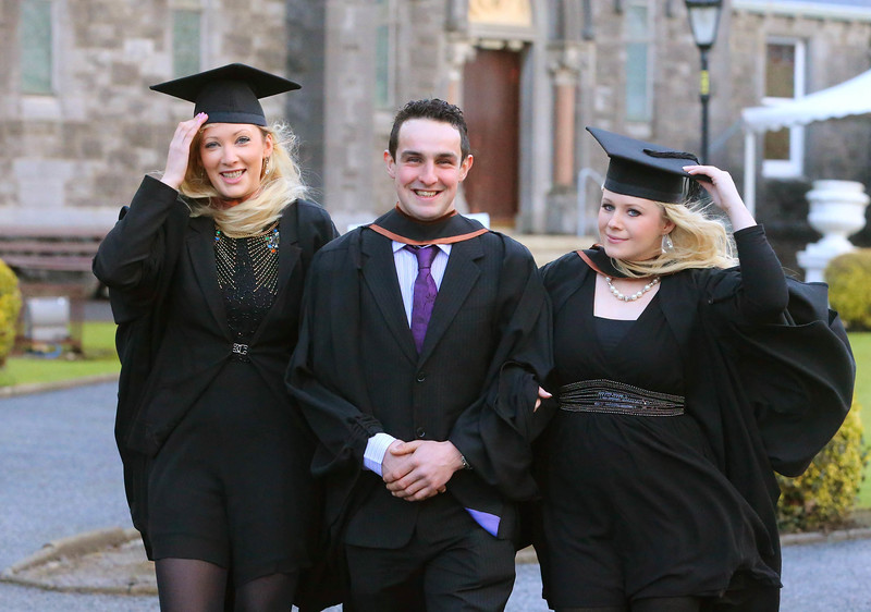 Waterford Institute Of Technology Conferring. Pictured at WIT Waterford Institute Of Technology Conferring is Michelle Ryan, Kilkenny, James Dowling, Kilkenny, Michelle Cunningham, Dungarvan, Co Waterford who graduated Bachelor of Arts (Honours). Picture: Patrick Browne