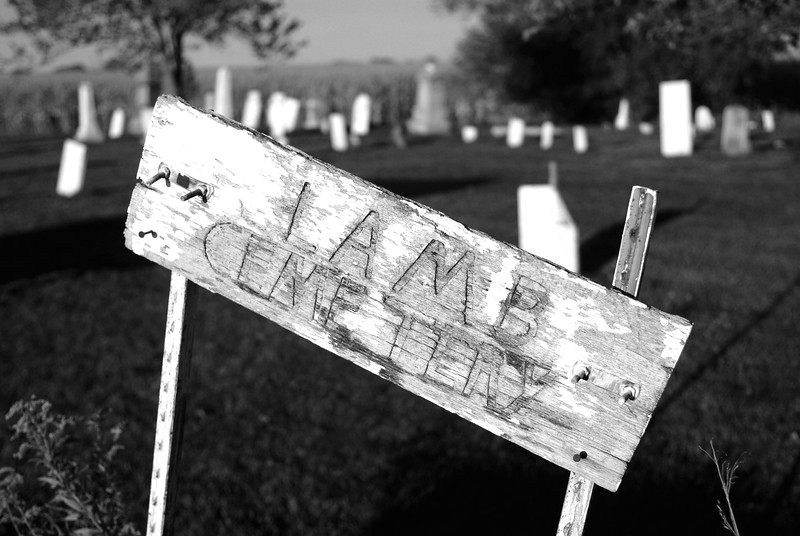 Lamb Cemetery Sign BW.jpg