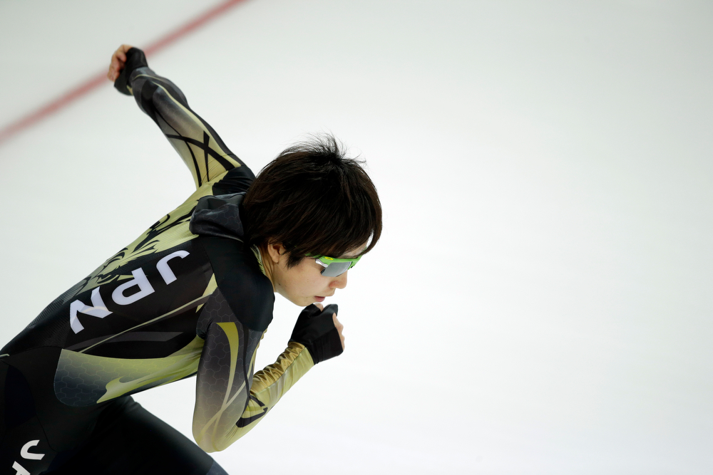 . Nao Kodaira of Japan practices her start prior to the start of the women\'s 500-meter speed skating race at the Adler Arena Skating Center at the 2014 Winter Olympics, Tuesday, Feb. 11, 2014, in Sochi, Russia. (AP Photo/Patrick Semansky)