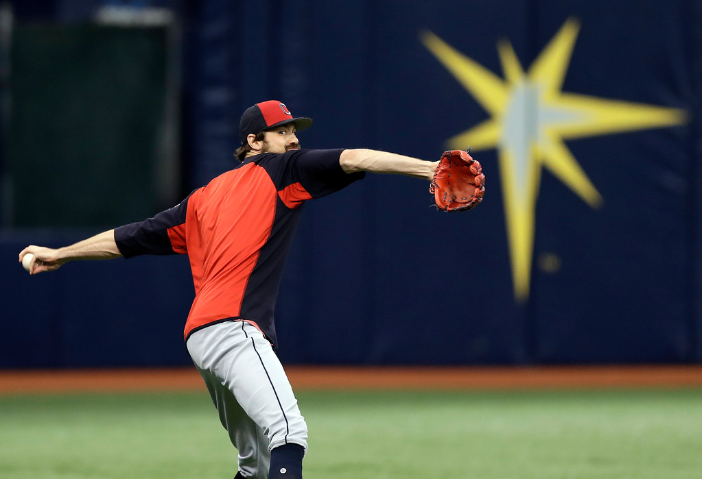 . Cleveland Indians pitcher Andrew Miller throws in the outfield before a baseball game against the Tampa Bay Rays Monday, Sept. 10, 2018, in St. Petersburg, Fla. (AP Photo/Chris O\'Meara)