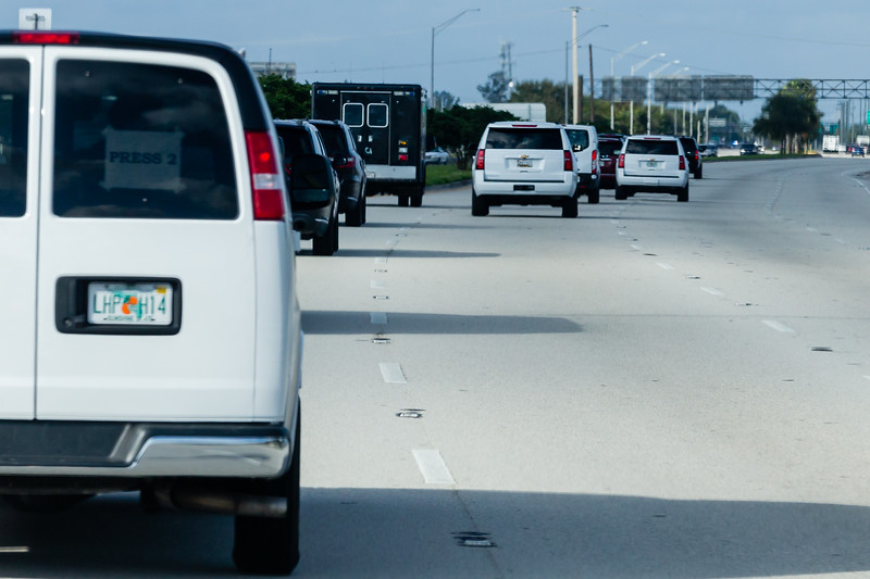 President Donald J. Trump's motorcade travels along Southern Blvd., on its way to Trump International Golf Club on Summit Blvd. in West Palm Beach on Saturday, January 04, 2020. [JOSEPH FORZANO/palmbeachpost.com]