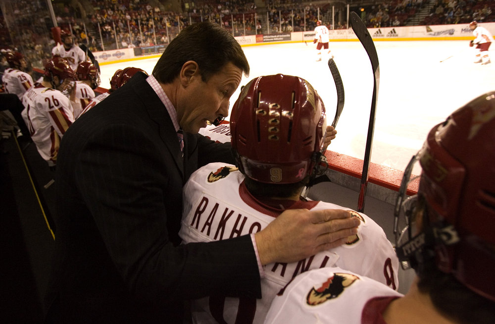 . University of Denver coach George Gwozdecky leads the Pioneers to 4-1 victory over the number 5 Minnesota Golden Gophers Sat., Feb. 9 at home.  The Pioneers recently lost their lead scorer, Brock Trotter, to the pros.  Trotter signed with the Montreal Canadiens on Thursday, Feb. 7. (Nathan W. Armes/Special to The Denver Post)