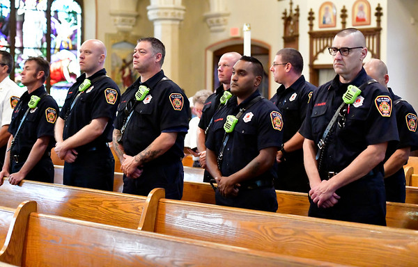 9/11/2019 Mike Orazzi | StaffrBristol first responders during the 9/11 ceremony in Bristol on Wednesday morning at St. Joseph Church.r
