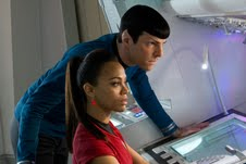 ". Left, Zachary Quinto as Spoke and Zoe Saldana as Uhura in ""Star Trek Into Darkness.\"" Provided by Paramount Pictures."