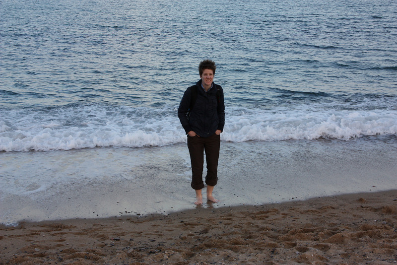 It was really cold, but Jared wanted to stick his feet in.