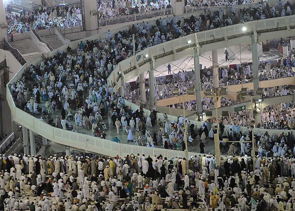 . A general view shows the new raised walkway installed around the Kaaba allowing people with disabilities to perform the mandatory Tawaf, or circumambulation, seven times counter-clockwise around the Kaaba, in Mecca\'s Grand Mosque on October 8, 2013. More than two million Muslims have arrived in the holy city for the annual hajj pilgrimage which begins on October 13 amid concerns over the deadly MERS coronavirus.   (FAYEZ NURELDINE/AFP/Getty Images)