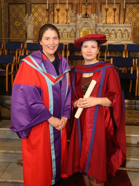 Pictured is Magdalena Necpalova of Slovakia and Piltown, Kilkenny who was conferred a Doctor of Philosophy, also pictured is Imelda Casey supervisor. Picture: Patrick Browne.
