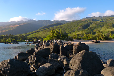 Molokai from Rocky Breakwater Near Puko'o