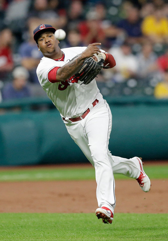 . Cleveland Indians\' Jose Ramirez throws out Pittsburgh Pirates\' David Freese at first base in the fourth inning of a baseball game, Monday, July 23, 2018, in Cleveland. (AP Photo/Tony Dejak)