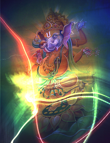 I meditate on Ganesha Who has a Curved Trunk, Large Body, and Who has the Brilliance of a Million Suns,