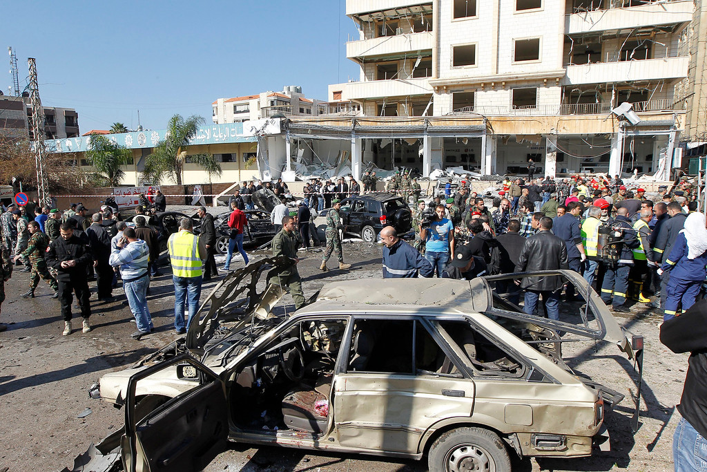 . A general view for the site of explosion near the Kuwaiti Embassy and Iran\'s Chancellery center, in Beir Hassan area at southern suburbs of Beirut, Lebanon, 19 February 2014.  EPA/NABIL MOUNZER