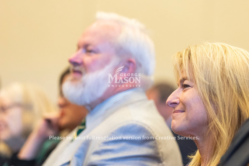 George Mason University Vice President for Academic Innovation and New Ventures Michelle Marks and Volgenau School of Engineering Dean Kenneth Ball listen to Dolica Gopisetty speak. Photo by Lathan Goumas/Office of Communications and Marketing   Photo Taken:Friday, September 20, 2019