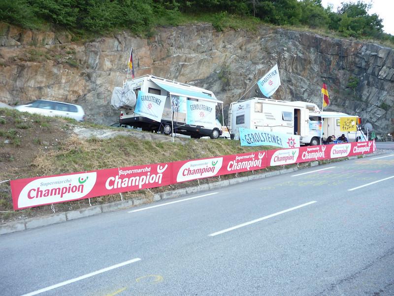 An Alpe d'Huez switchback. Location - Alpe d'Huez