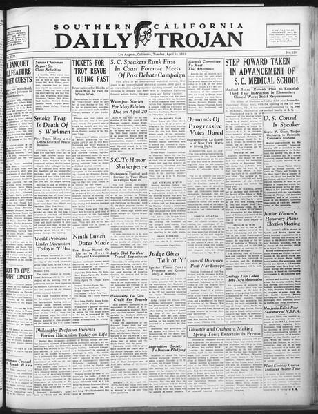 Daily Trojan, Vol. 22, No. 122, April 14, 1931