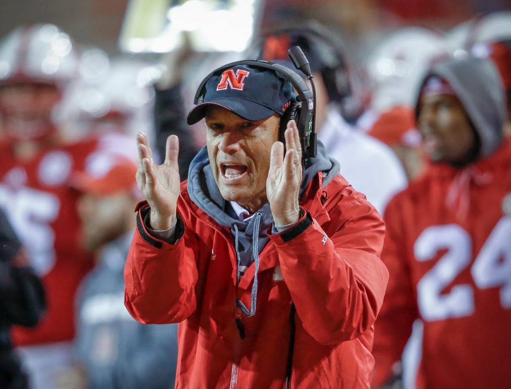 . Nebraska coach Mike Riley gestures during the first half of the team\'s NCAA college football game against Ohio State in Lincoln, Neb., Saturday, Oct. 14, 2017. Ohio State won 56-14. (AP Photo/Nati Harnik)