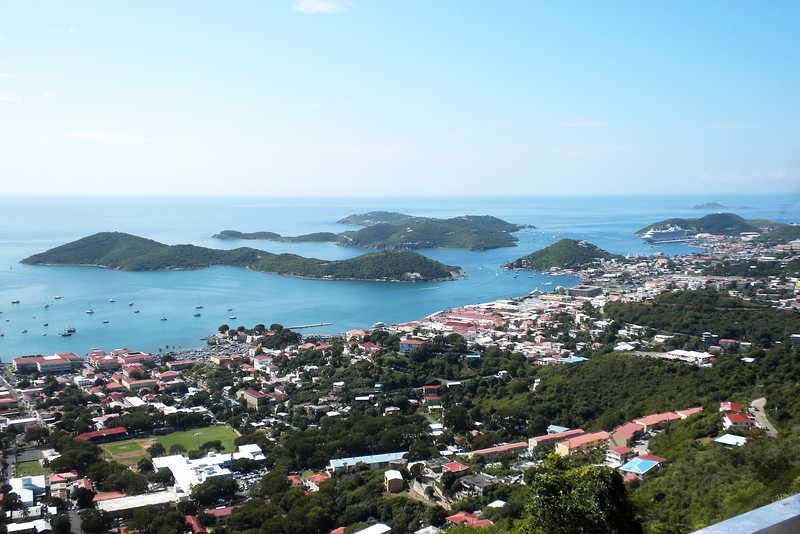 St Thomas and surrounding islands.  It is rumored that movie stars and other dignitaries have hide-aways on these islands, where a 1/4 acre goes for $1 million.