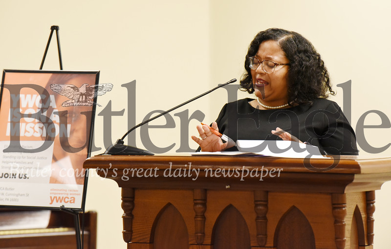 Harold Aughton/Butler Eagle: Dr. Belinda Richardson, vice president for academic affairs at the Butler College Community College provided the keynote address at the YWCA's breakfast honoring the commitment of Martin Lutheran King's life, legacy, and commitment to fighting injustice.