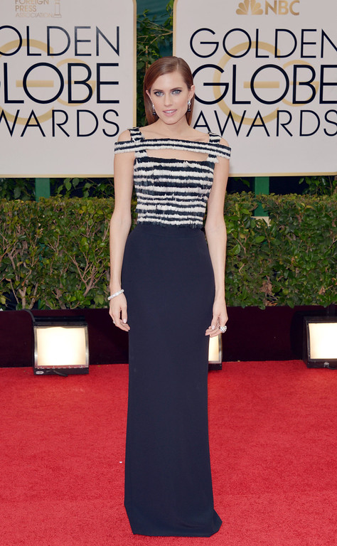 . Allison Williams arrives at the 71st annual Golden Globe Awards at the Beverly Hilton Hotel on Sunday, Jan. 12, 2014, in Beverly Hills, Calif. (Photo by John Shearer/Invision/AP)