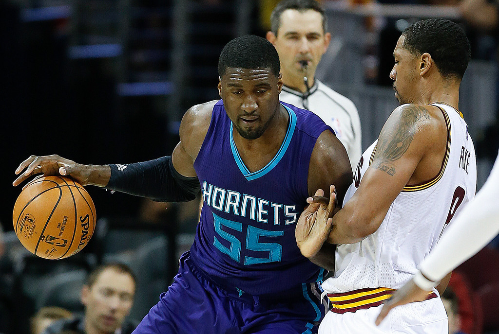 . Charlotte Hornets\' Roy Hibbert (55) tries to drive on Cleveland Cavaliers\' Channing Frye (8) during the first half of an NBA basketball game, Sunday, Nov. 13, 2016, in Cleveland. (AP Photo/Ron Schwane)