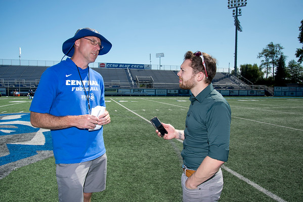 08/29/19 Wesley Bunnell | Staff CCSU's football practice on Thursday August 29, 2019. Head Coach/Quarterbacks coach Ryan McCarthy.