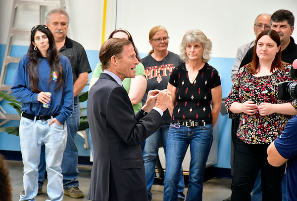 7/26/2019 Mike Orazzi | Staff U.S. Sen. Richard Blumenthal talks to employees at Pepco on Lake Avenue in Bristol during a tour on Friday.