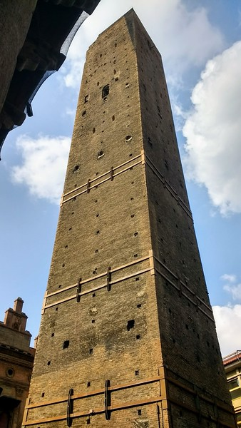 A leaning tower in Bologna, Italy
