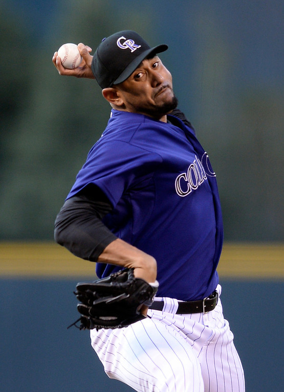 . Colorado starter Franklin Morales delivered to the plate in the first inning.   (Photo by Karl Gehring/The Denver Post)