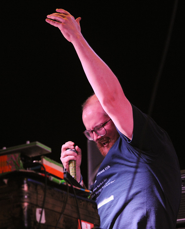 . Dan Deacon performs at FYF Fest in downtown L.A., Saturday, August 24, 2013. (Michael Owen Baker/L.A. Daily News)