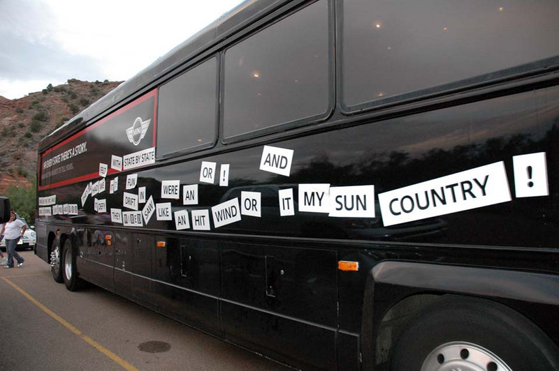 A message on the giant billboard (MINI) bus.