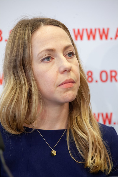 The Netherlands, Amsterdam, 25-7-2018. Press conference: The future of HIV funding. Annie Haakenstad, University of WashingtonPhoto: Rob Huibers for IAS. (Please publish always with complete attribution).