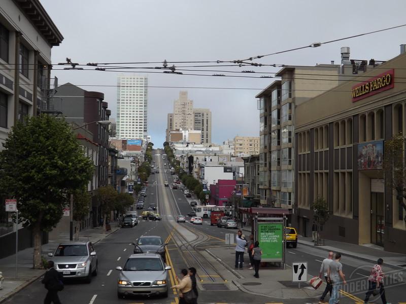 Looking at Califorina Street from Van Ness.