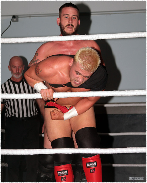 """""""Pro Wrestling's Savior"""" JT Dunn vs. """"The Windy City Kid"""" TJ Crawford during the Chaotic Wrestling (CW) event held at the New England Pro Wrestling Academy in North Andover, Massachusetts on May 23, 2021."""