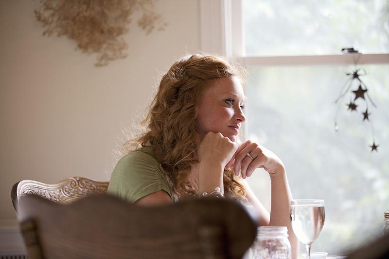 listening to Sarah speak at bridal luncheon.