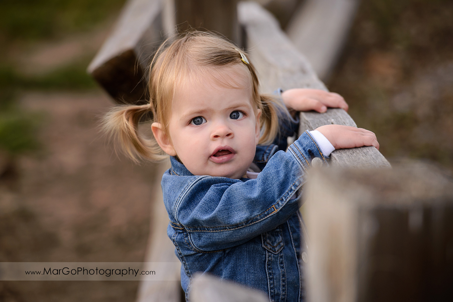 close-up portrait of little girl in white dress and jeans jacket during family session at San Jose Martial Cottle Park