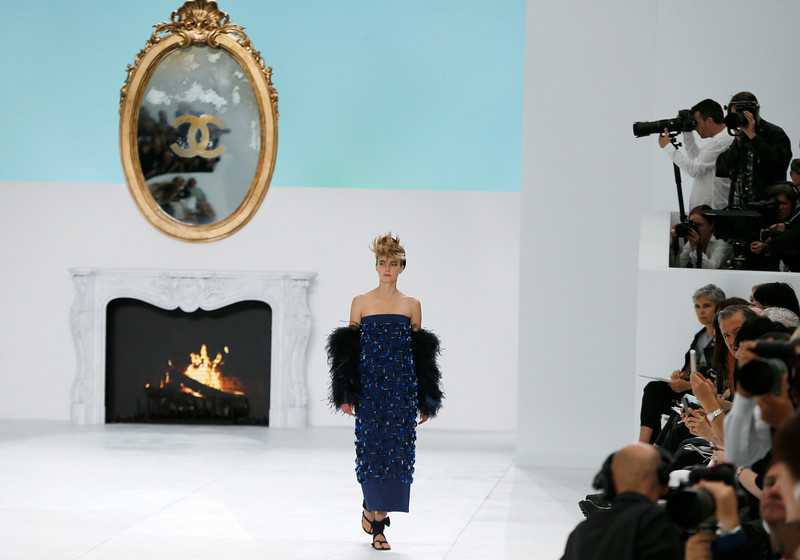 . A model wears a creation for Chanel\'s fall-winter 2014-2015 Haute Couture fashion collection presented in Paris, France, Tuesday, July 8, 2014. (AP Photo/Jacques Brinon)