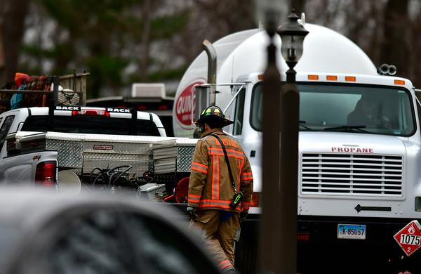 4/18/2019 Mike Orazzi | Staff The scene of a propane leak in a 1000 gallon underground tank on Patricia Drive in Bristol on Thursday morning.