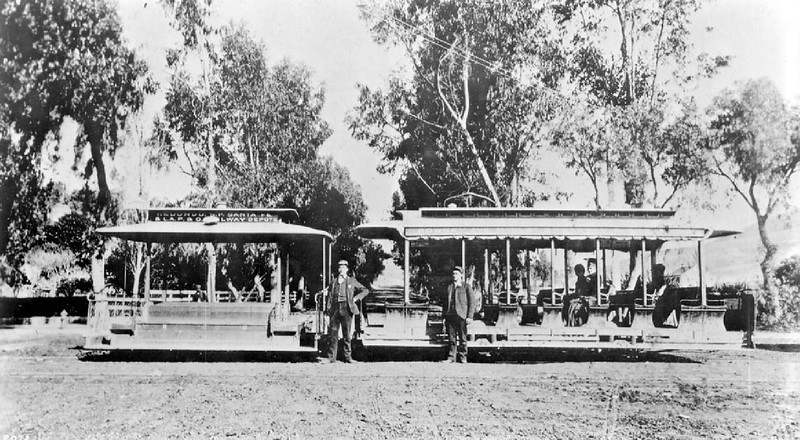 Cable car with its trailer on north Broadway, Los Angeles, ca.1890