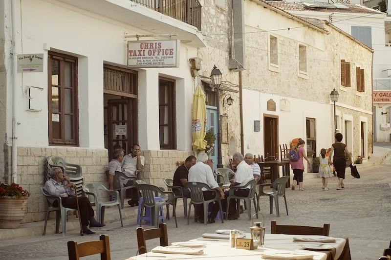 Locals enjoying life in Pissouri Square