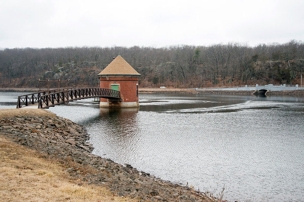 02/26/20 Wesley Bunnell | StaffrrShuttle Meadow Reservoir is shown operating at normal capacity despite a dry winter season. Shown is the Gate House which suctions water through the bottom and pumps it into the treatment plant.