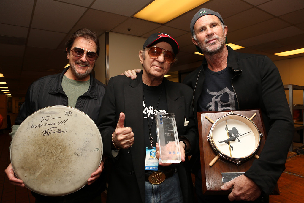 . ANAHEIM, CA - JANUARY 24: Drummers Jim Keltner, Hal Blaine and Chad Smith attend the NAMM Tec Awards at the Anaheim Hilton on January 24, 2014 in Anaheim, California.  (Photo by Jesse Grant/Getty Images for NAMM)