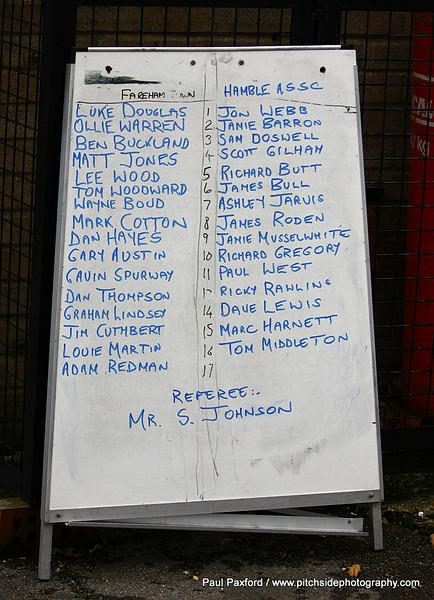 Fareham Town 1 Hamble ASSC 1  (Abandoned 45 mins)  Wessex League  27/12/10