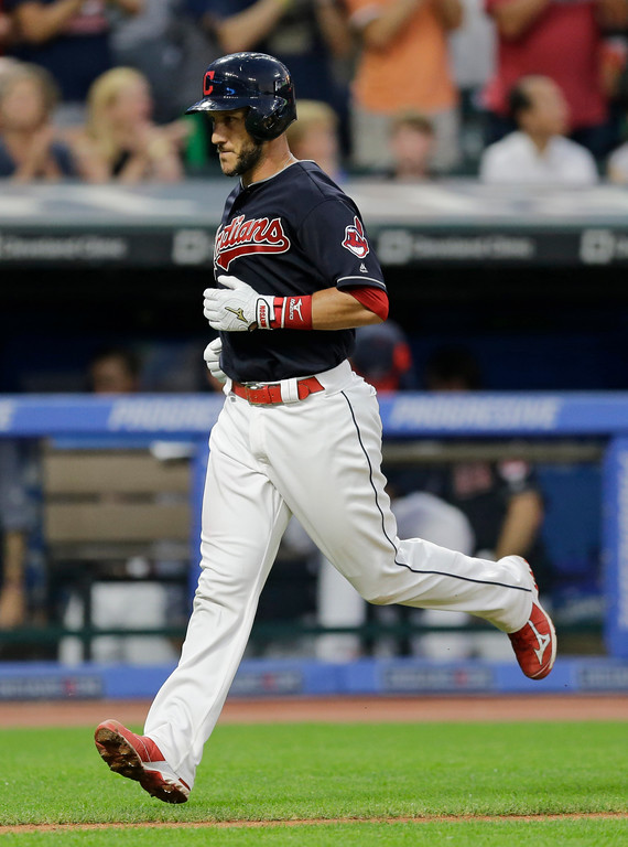 . Cleveland Indians\' Yan Gomes runs the bases after hitting a solo home run off San Diego Padres relief pitcher Jose Torres in the sixth inning of a baseball game, Thursday, July 6, 2017, in Cleveland. (AP Photo/Tony Dejak)