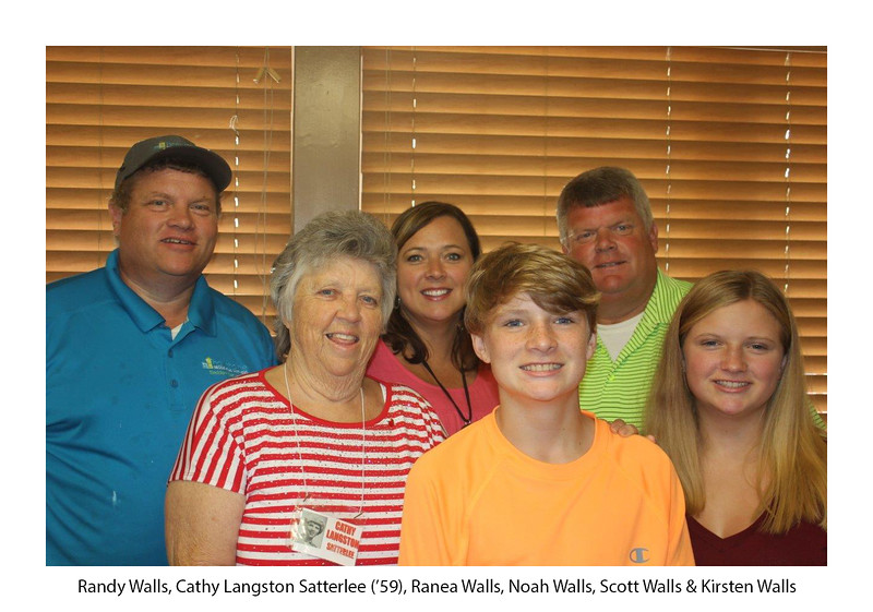 Randy Walls, Cathy Langston Satterlee '59, Ranea Walls, Noah Walls, Scott Walls, and Kirsten Walls.jpg