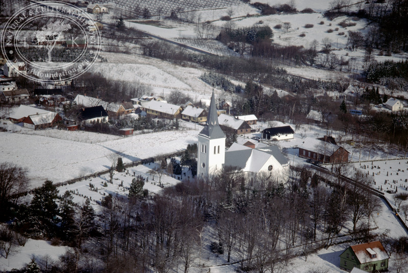 Södra Mellby church and village (20 February, 1988). | LH.0191