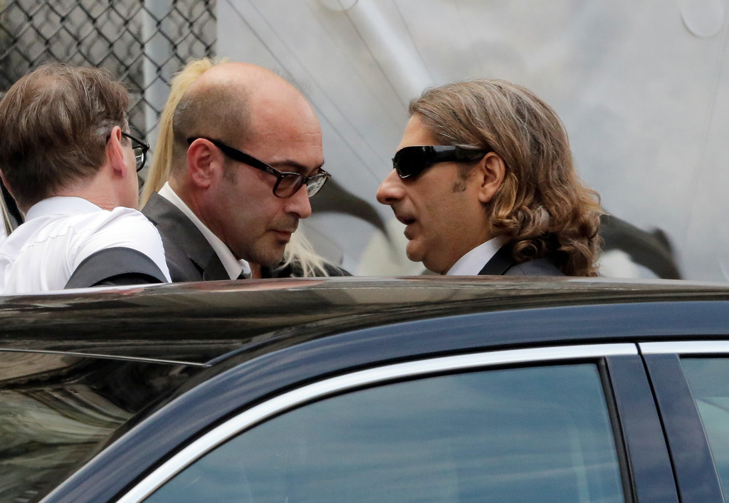 ". Actors John Ventimiglia, left, and Michael Imperioli arrive for the funeral service of James Gandolfini, star of ""The Sopranos,\"" in New York\'s the Cathedral Church of Saint John the Divine,  Thursday, June 27, 2013. (AP Photo/Richard Drew)"