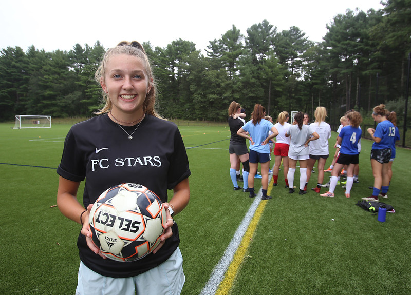 Westford Academy girls soccer star Brooke Ditcham at practice, at Nutting Fields. (SUN/Julia Malakie)