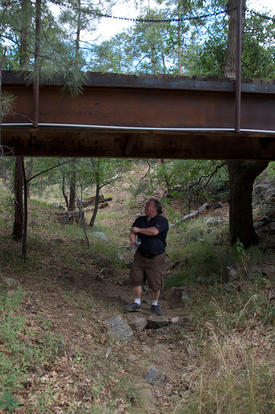 Ken is checking the sturdiness of the bridge as we leave the property. It's OK---quite sturdy.