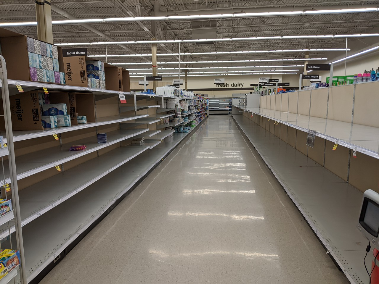 Toilet paper and other paper goods aisle, Meijer, Beavercreek, Ohio, March 20, 2020, about 5:45 pm