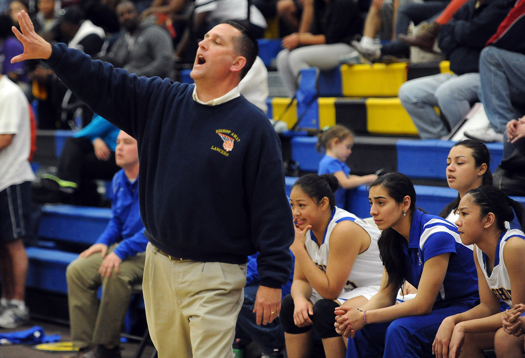 . Bishop Amat head coach Richard Wiard in the second half of a CIF State Southern California Regional semifinal basketball game against Long Beach Poly at Bishop Amat High School on Tuesday, March 12, 2013 in La Puente, Calif. Long Beach Poly won 52-34.  (Keith Birmingham Pasadena Star-News)
