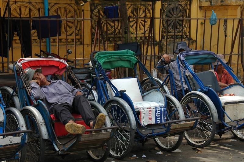 Cyclo Driver Sleeping - Phnom Penh, Cambodia